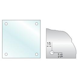 Kvadratisk GLAS 4mm med 4 huller