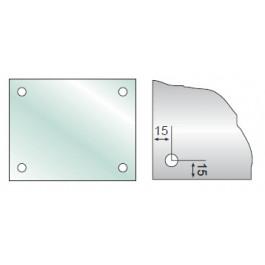 Rektangulært GLAS 4mm med 4 huller.